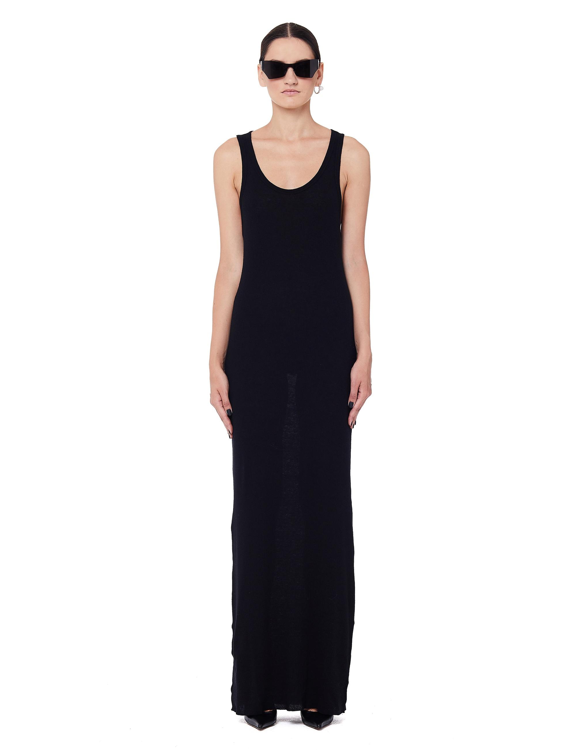 Haider Ackermann Black Ribbed Cotton Tank Dress