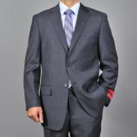 Mens Textured Dark Grey 2button Wool Suit