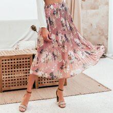 falda floral fruncido de cintura con volante