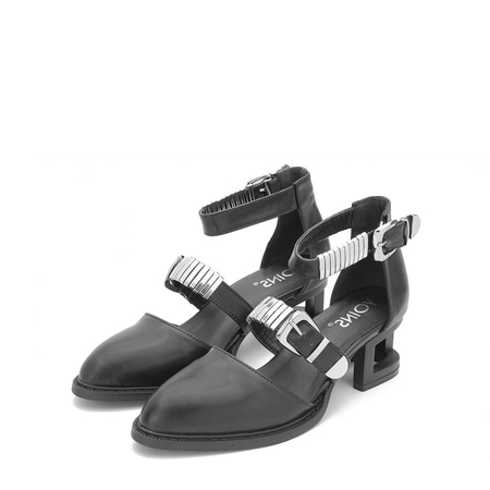 Yoins Black Leather Look Ankle Strap Silver Buckle Hollow Heel Shoes