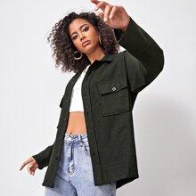 Drop Shoulder Buttoned Coat