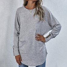 Camiseta larga de espalda con boton de manga murcielago de space dye