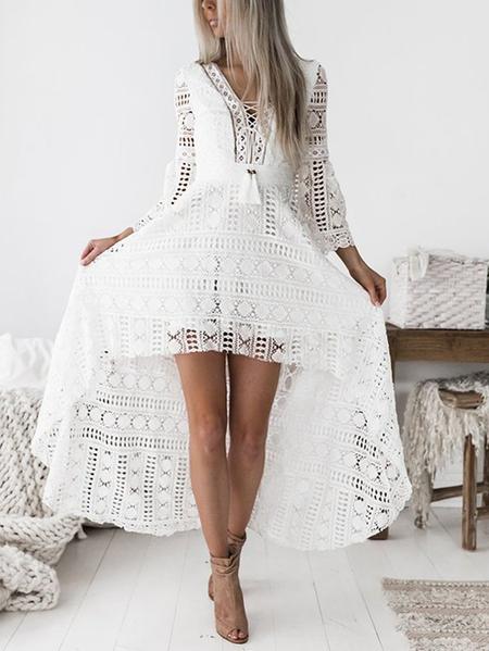 Yoins White Deep V-neck Hollow Out Crochet Lace Dress