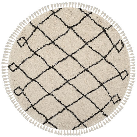 Safavieh Moroccan Fringe Shag Collection Atanas Geometric Round Area Rug, One Size , Multiple Colors