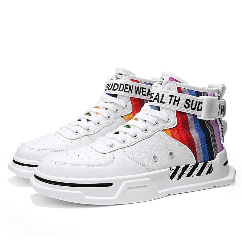 Ericdress PU High-Cut Upper Color Block Lace-Up Men's Skate Shoes