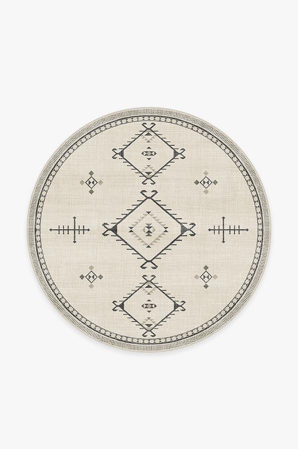 Washable Rug Cover | Damali Black & White Rug | Stain-Resistant | Ruggable | 6' Round