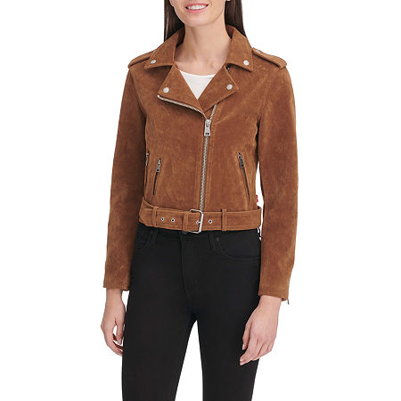 Levi's Faux Suede Belted Midweight Motorcycle Jacket, Medium , Brown