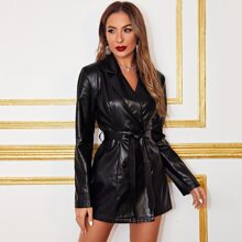 Notched Collar Double Breasted Belted PU Leather Blazer
