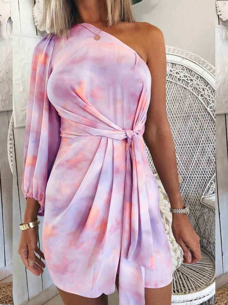 LW Lovely Stylish One Shoulder Tie-dye Purple Mini Dress