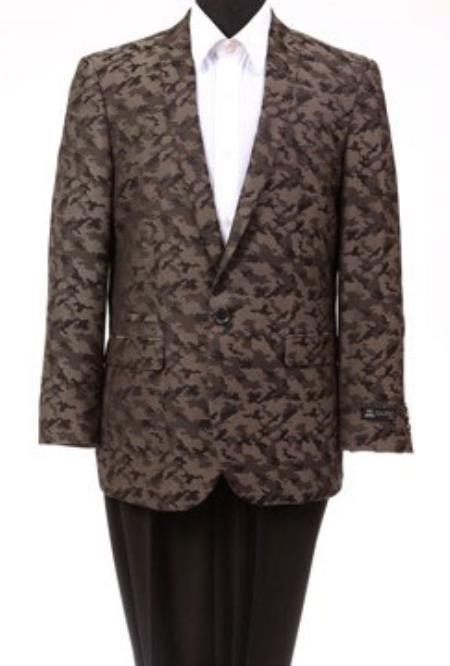 Tazio Abstract Design Slim Fit Fashion Jacket Brown camouflage blazer