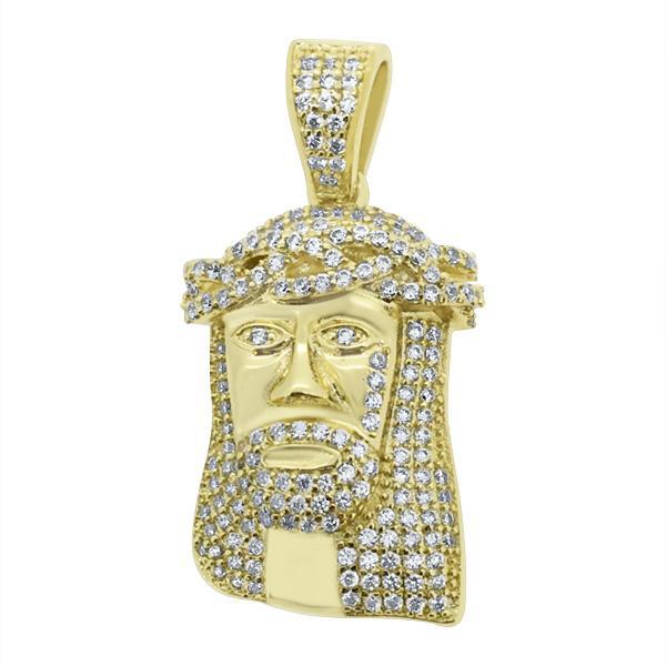 Mini Bling Bling Gold Jesus Piece .925 Silver