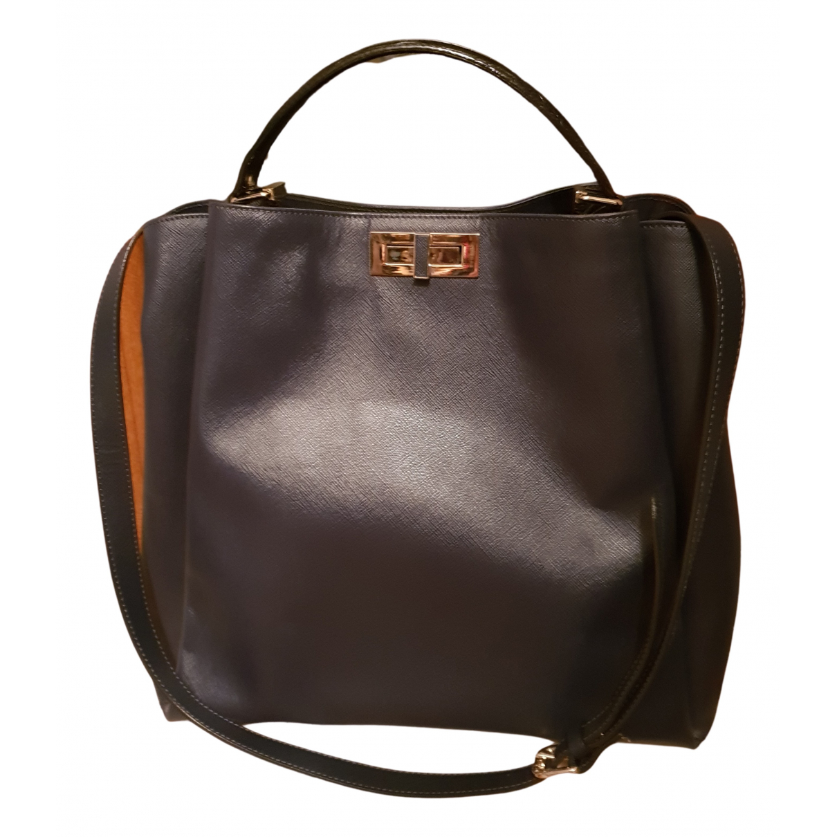 Non Signé / Unsigned N Navy Leather handbag for Women N