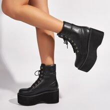 Lace Up Front Platform Combat Boots