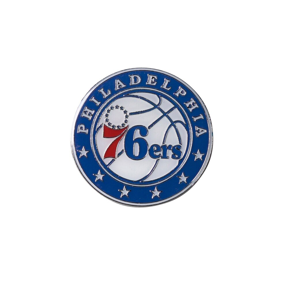 philadelphia 76ers grande logo pin 2 inch (Exact Color)
