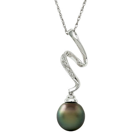 Sterling Silver Cultured Tahitian Pearl & Diamond Squiggle Pendant, One Size , No Color Family