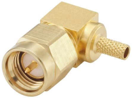 Rosenberger , SMA Right Angle 50Ω Cable Mount Coaxial Connector, Plug, Gold, Crimp Termination, Flexible