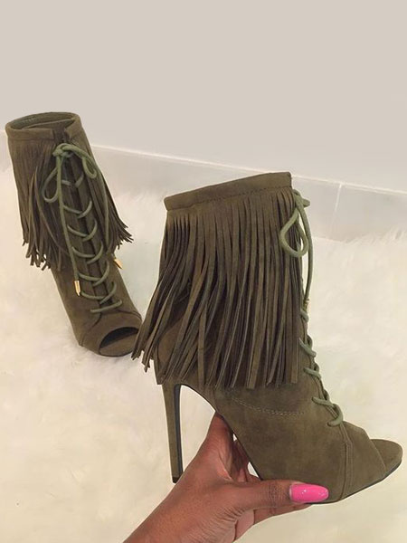 Milanoo High Heel Booties Women's Brown Peep Toe Lace Up Ankle Boots With Tassels