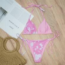 Tie Dye Triangle Tie Side Bikini Swimsuit