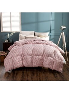 Compact White Grid Pattern Pink Feather Fabric Winter Quilt