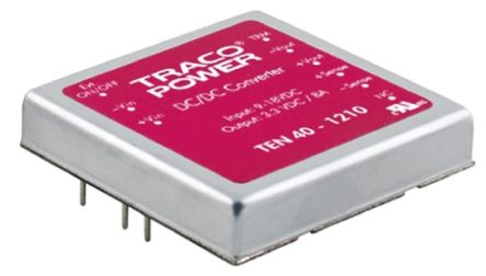 TRACOPOWER TEN 40 40W Isolated DC-DC Converter Through Hole, Voltage in 9 → 18 V dc, Voltage out 5 V dc, ±15 V dc