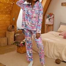 Comic Pattern Lapel Neck PJ Set