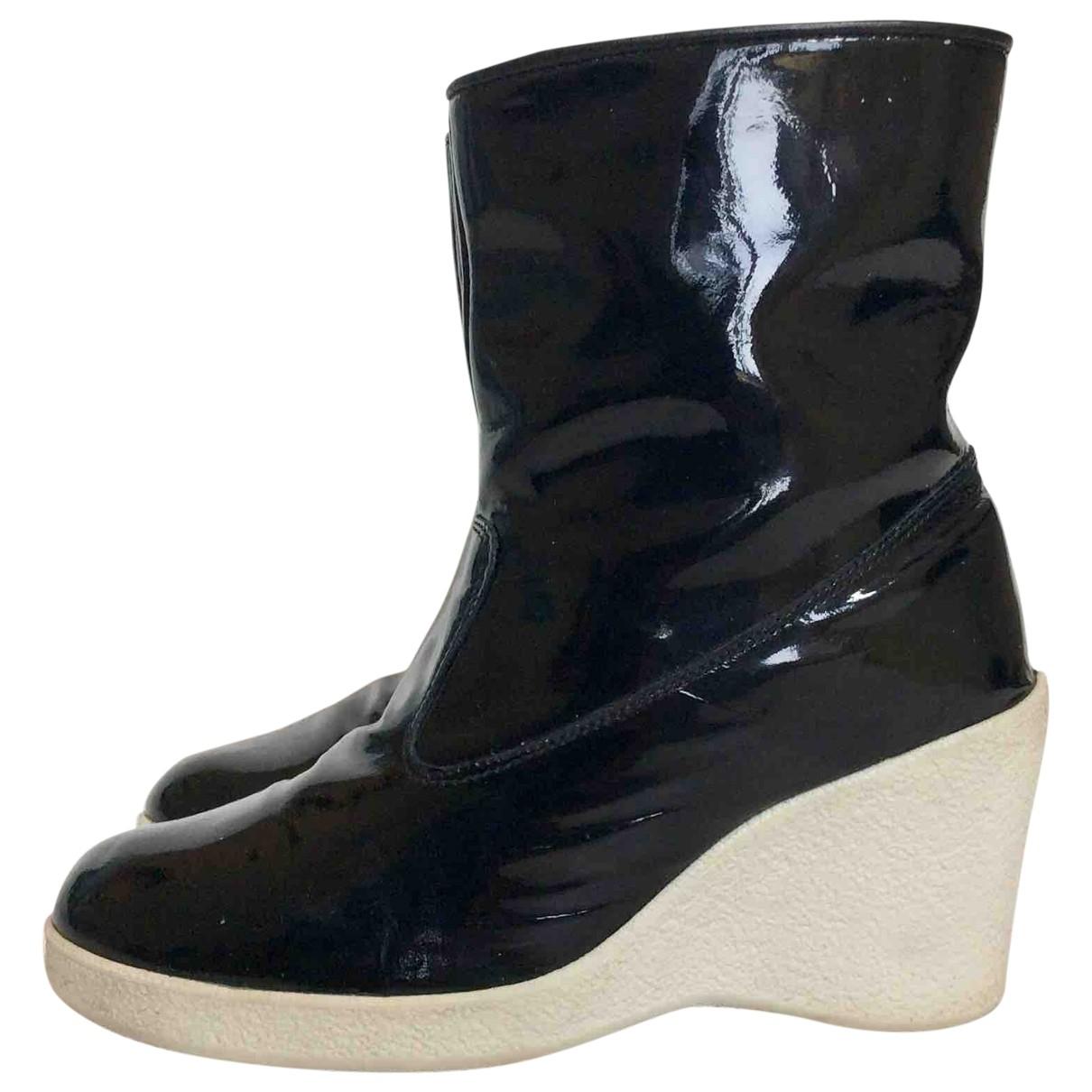 Mm6 - Boots   pour femme en cuir verni - noir