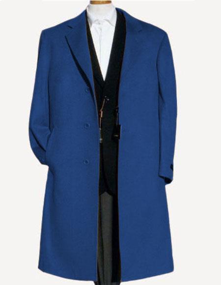 Men's Navy Blue Soft Finest Grade Of Cashmere Wool Overcoat ~ Topcoat