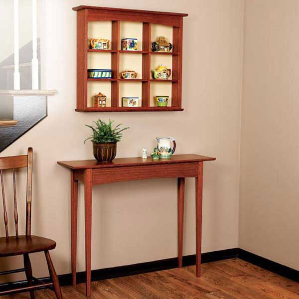 Woodworking Project Paper Plan to Build Curio Shelf and Hall Table