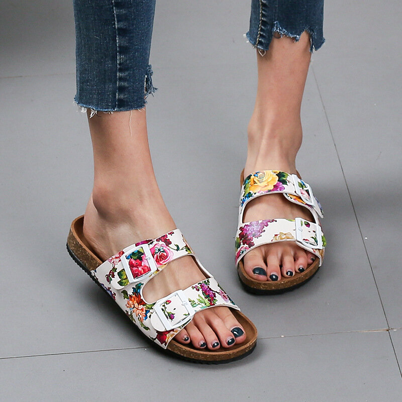 Women Double Buckle Flowers Pattern Strap Cork Footbed Slide Slippers