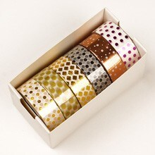 Assrtd Uber Mtllc Dots Washi Tape - 9/16 X 10 Yards - Shipping Supplies by Paper Mart