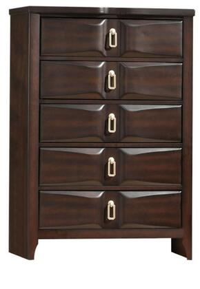 Lancaster Collection 24576 33 Chest with 5 Beveled Front Drawers  Silver Metal Hardware  Rubberwood and Tropical Wood Construction in Espresso
