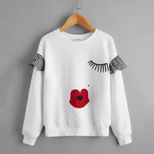 Sweatshirt mit Karikatur Grafik und Rueschen Detail