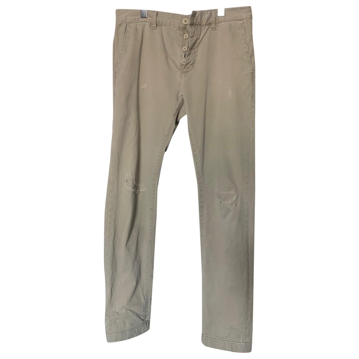 Pantalones en Algodon Caqui Saint Laurent