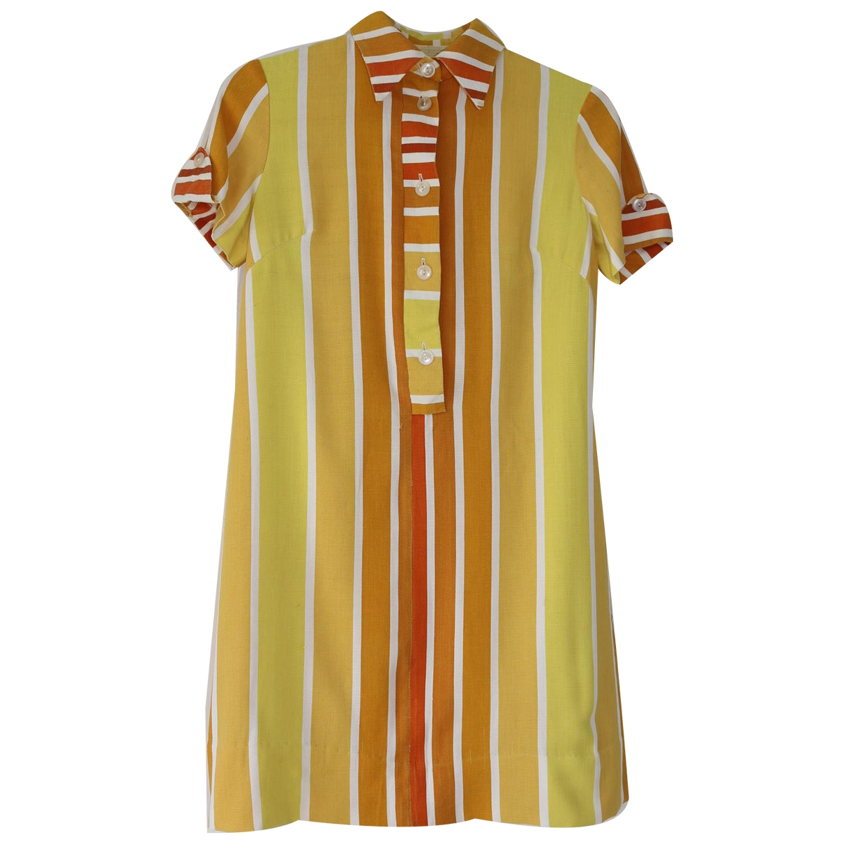 Non Signé / Unsigned Hippie Chic Yellow Cotton dress for Women One Size International