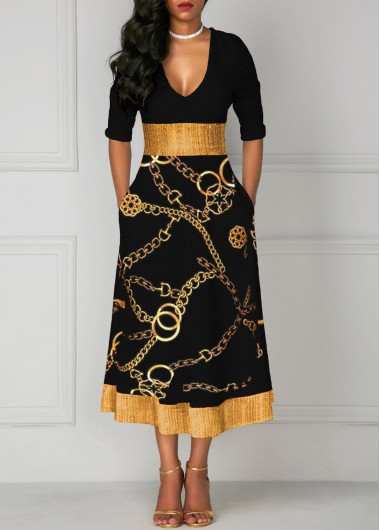 Women Black Fit And Flare Casual Dress V Neck Three Quarter Sleeve Mid Calf High Waisted Gold Chain Printed Glitter Midi Dress By Rosewe - XL