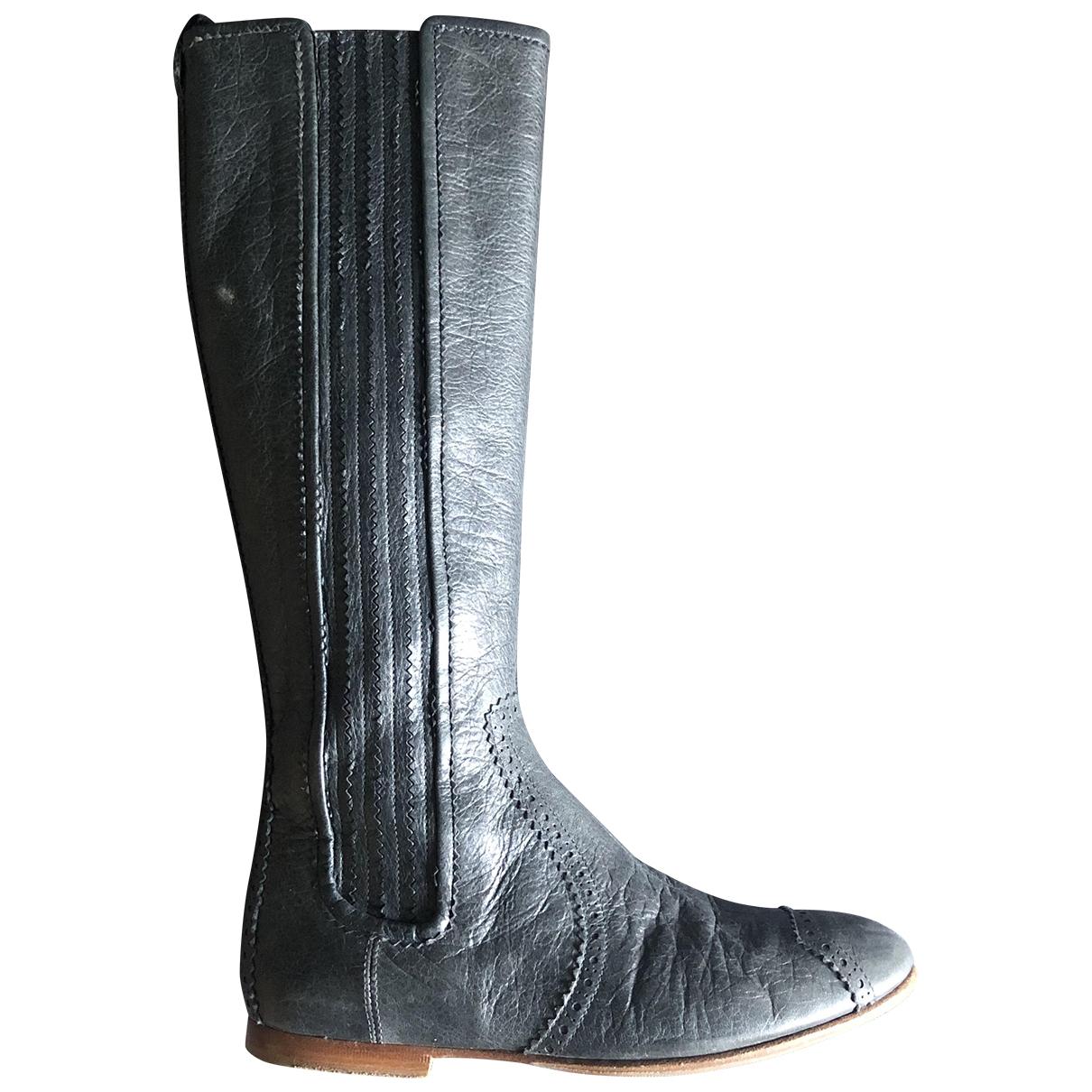 Balenciaga - Bottes   pour femme en cuir - gris
