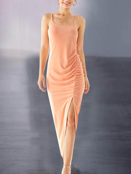 YOINS Nude Split Design Ruched Sleeveless Dress