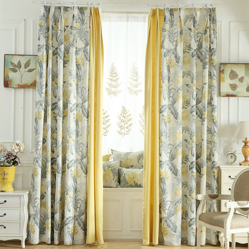 Light Color Floral on Linen Natural Style Curtain for Bedroom