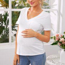 Maternity T-Shirt mit Taschen Flicken und gerollten Manschetten