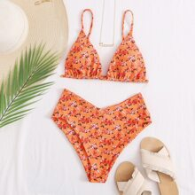 Ditsy Floral Triangle Bikini Swimsuit