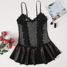 Floral Applique Lace Teddy Bodysuit