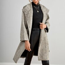 Button Front Belted Overcoat