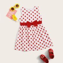 Toddler Girls Bow Front Polka Dot A-line Dress