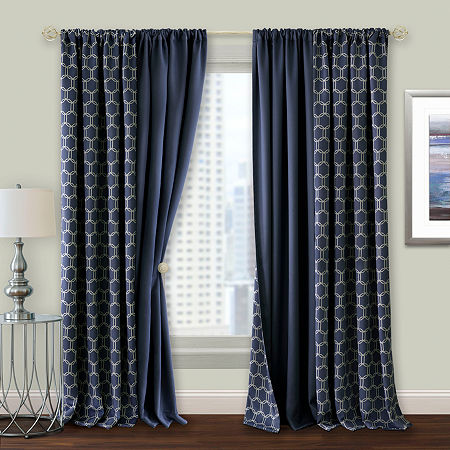 Achim Prelude Reversible 100% Blackout Rod-Pocket Single Curtain Panel, One Size , Blue