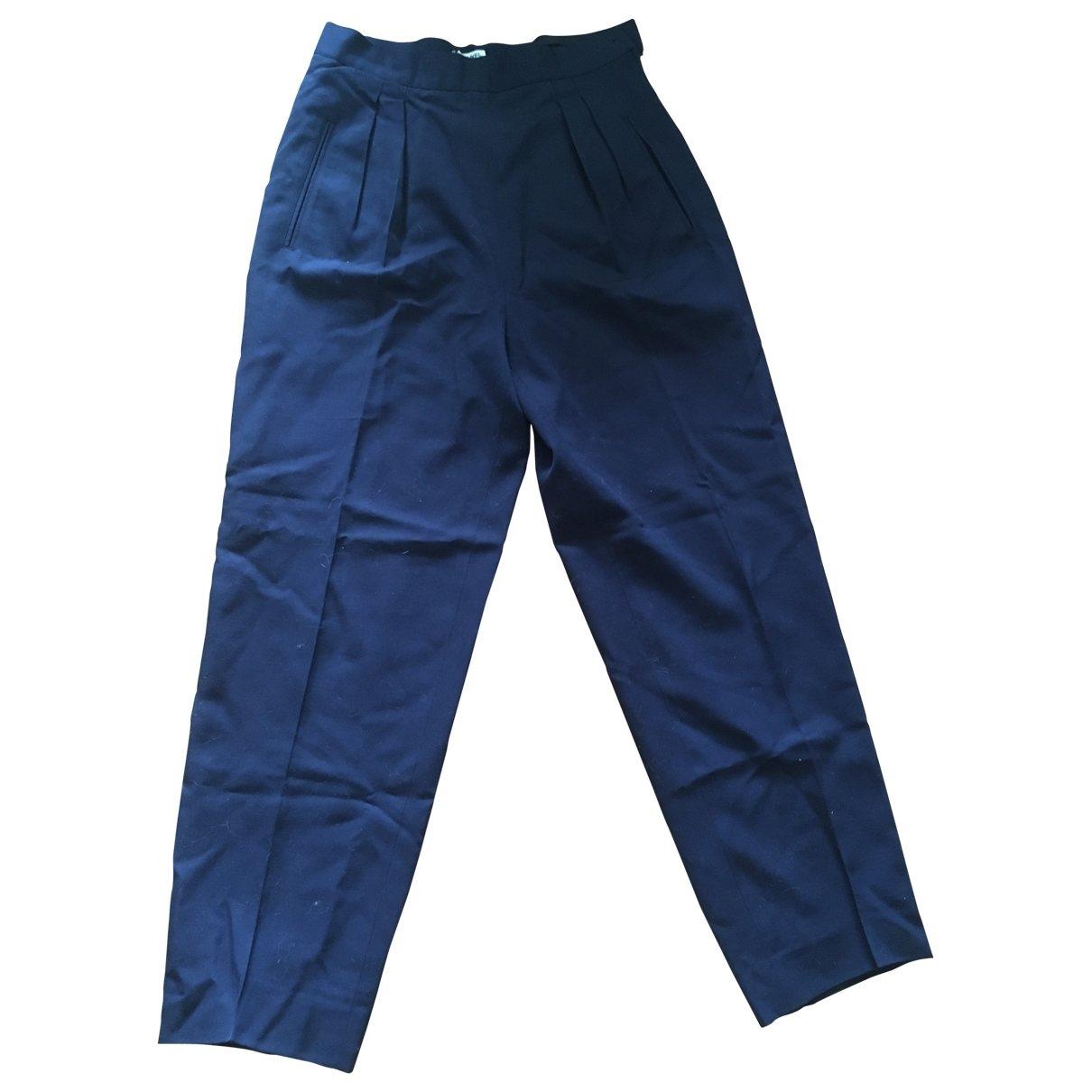 Chanel \N Navy Wool Trousers for Women 38 FR