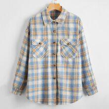 Plaid Button Through Flap Pocket Coat