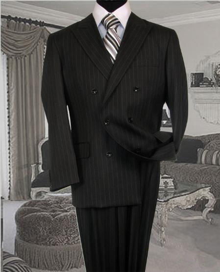 Charcoal Suit With Pinstripe  Poly/Rayon Wool Feel Pleated Pants