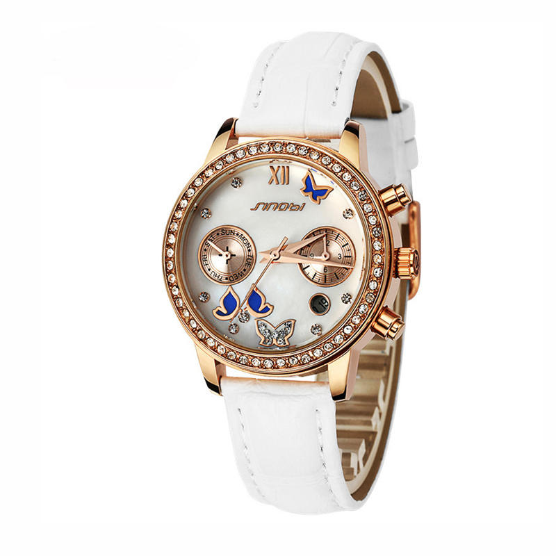 SINOBI 6556 Crystal Butterfly Women Leather Quartz Watch