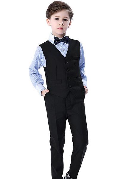Milanoo Trajes de portador de anillo Manga larga de algodon Cravat Chaleco camisa Pantalones Trajes de fiesta formales blancos