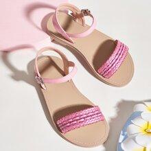 Toddler Girls Braided Detail Ankle Strap Sandals